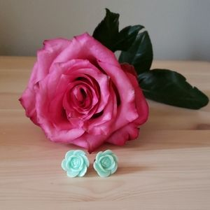 Mint Rose Earrings